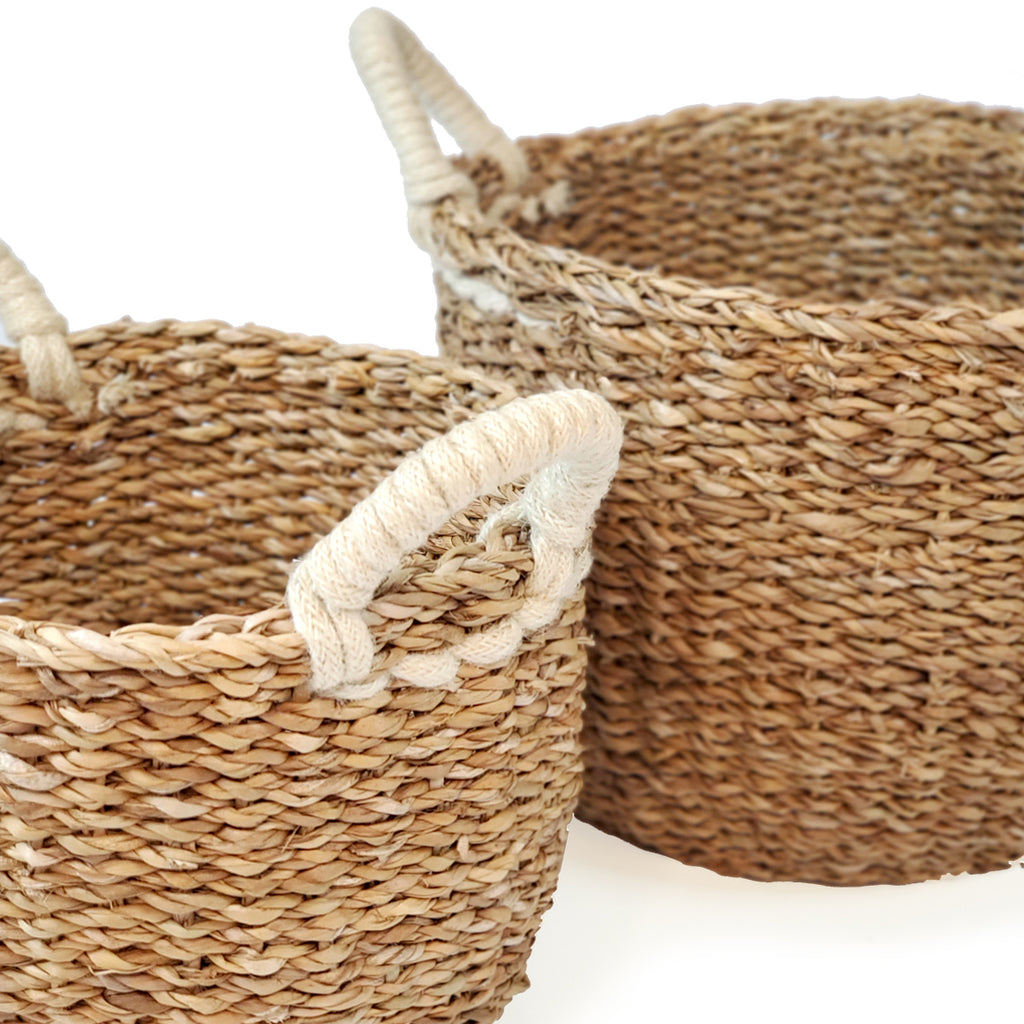 Savar Basket with White Handle (Set of 2)