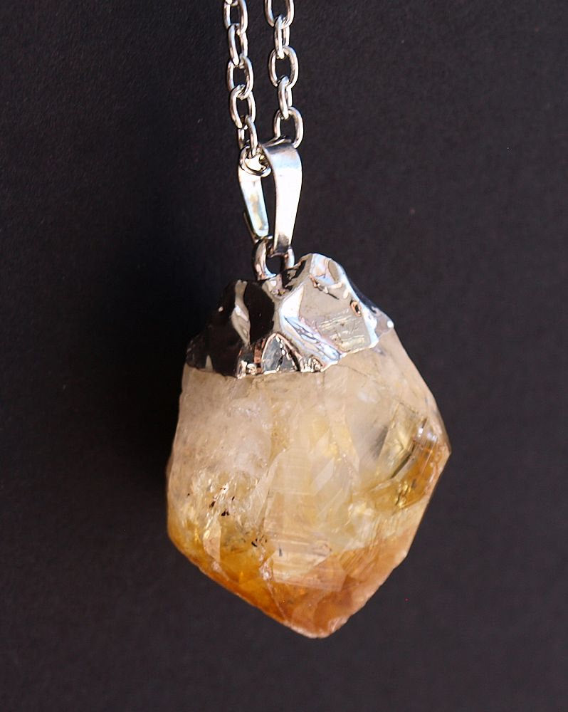 Raw Citrine Crystal Statement Necklace