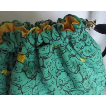 KNITTING KITTENS Drawstring 1-2 skein Handy project bag - Shoptinkknit
