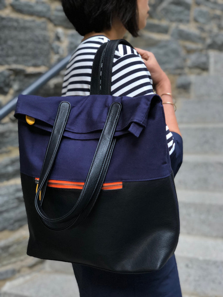 Greenpoint Navy Backpack Tote