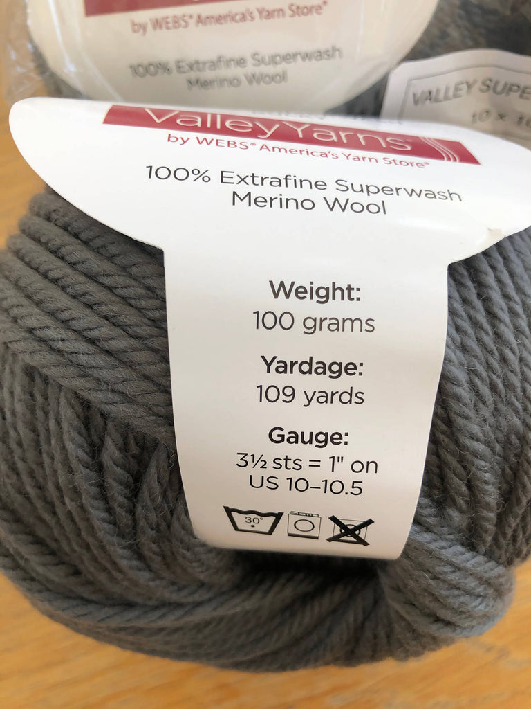 Valley Yarns 8 skeins superwash bulky merino wool steel grey Lot 92