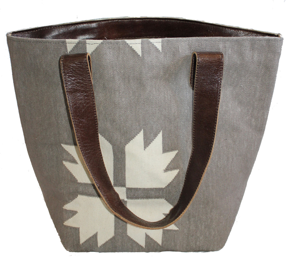 Snowflake Leather Bottom Medium Tote