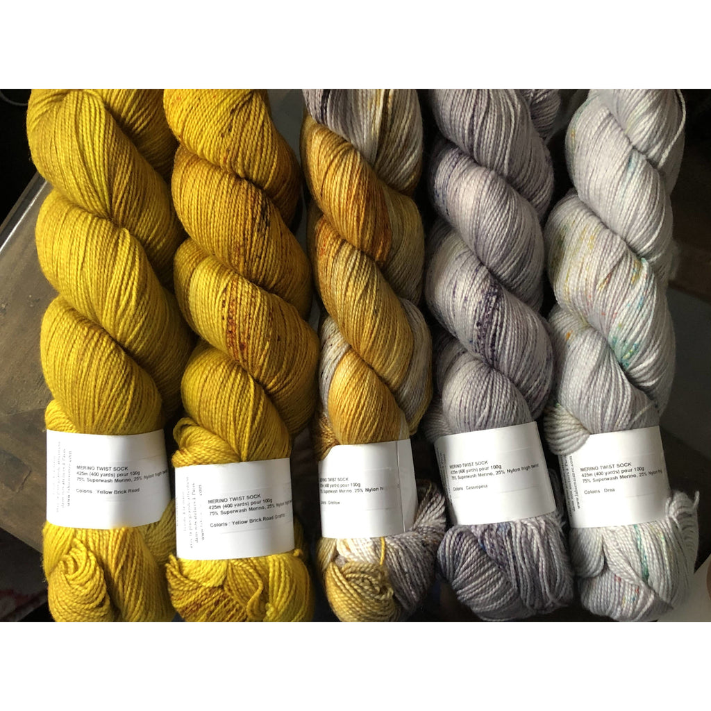 Five (5) La Bien Aimee Merino Twist Sock Yarn Fade Set - Grellow - Shoptinkknit