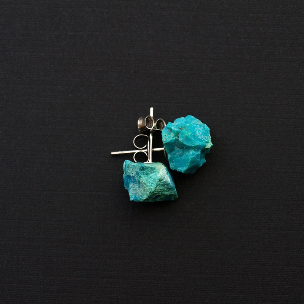 Raw Chrysocolla Chunk Earrings,  Rock Stud Earrings, Crystal Earrings