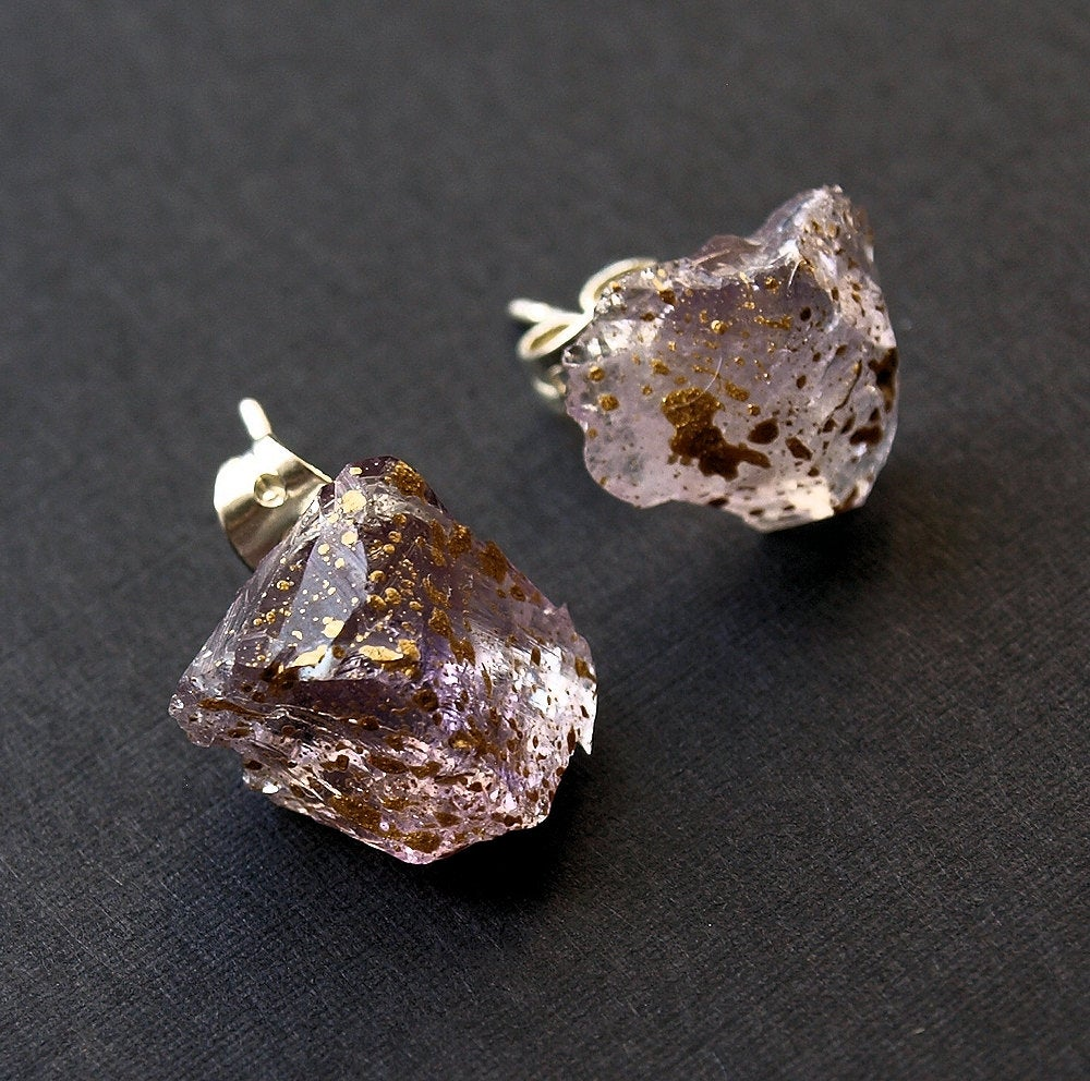 Gold Splatter & Raw Amethyst Chunk Earrings, Geo Earrings, Rock Stud Earrings, Crystal Earrings
