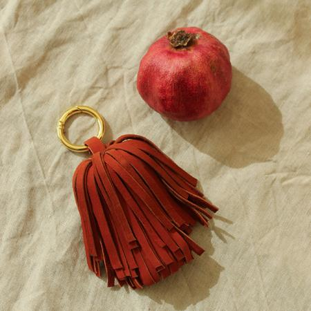 Upcycled Leather Pom Tassel Bag Charm - in Burnt Sienna Red