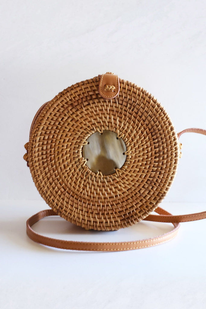 Tan Tien Buffalo Horn Centerpiece Circle Wicker Rattan Bag