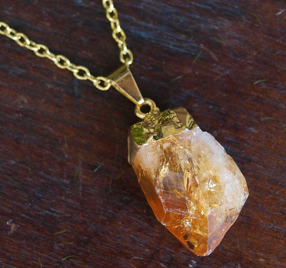 Gold Raw Citrine Crystal Statement Necklace