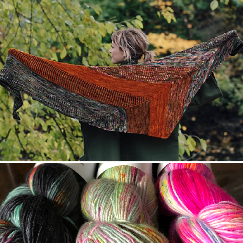 Three Skeins Hedgehog Fibres Sporty Singles Yarn For Andrea Mowry's Plumpy Shawl - Shoptinkknit