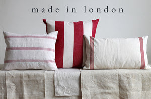 Vintage linen red stripe cushions all made in London