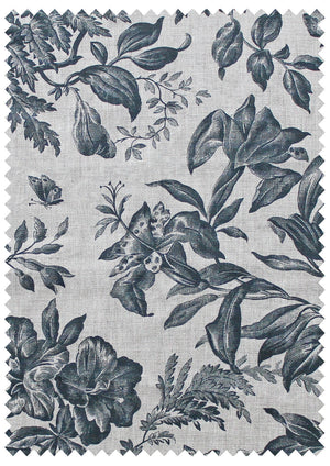 Floraison Prussian Blue - Natural Linen Swatch