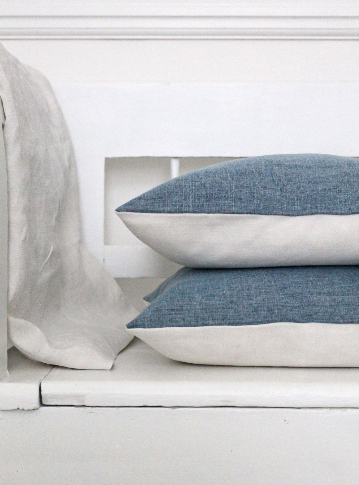 Denim & Vintage Linen Cushion