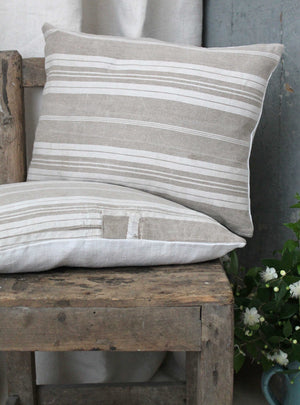 Beige Linen Stripe Cushion