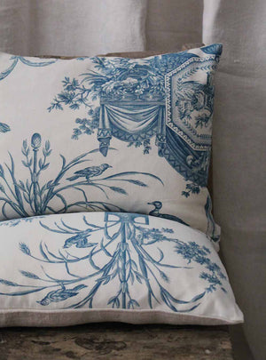 Blue and White Scatter Cushion Close Up