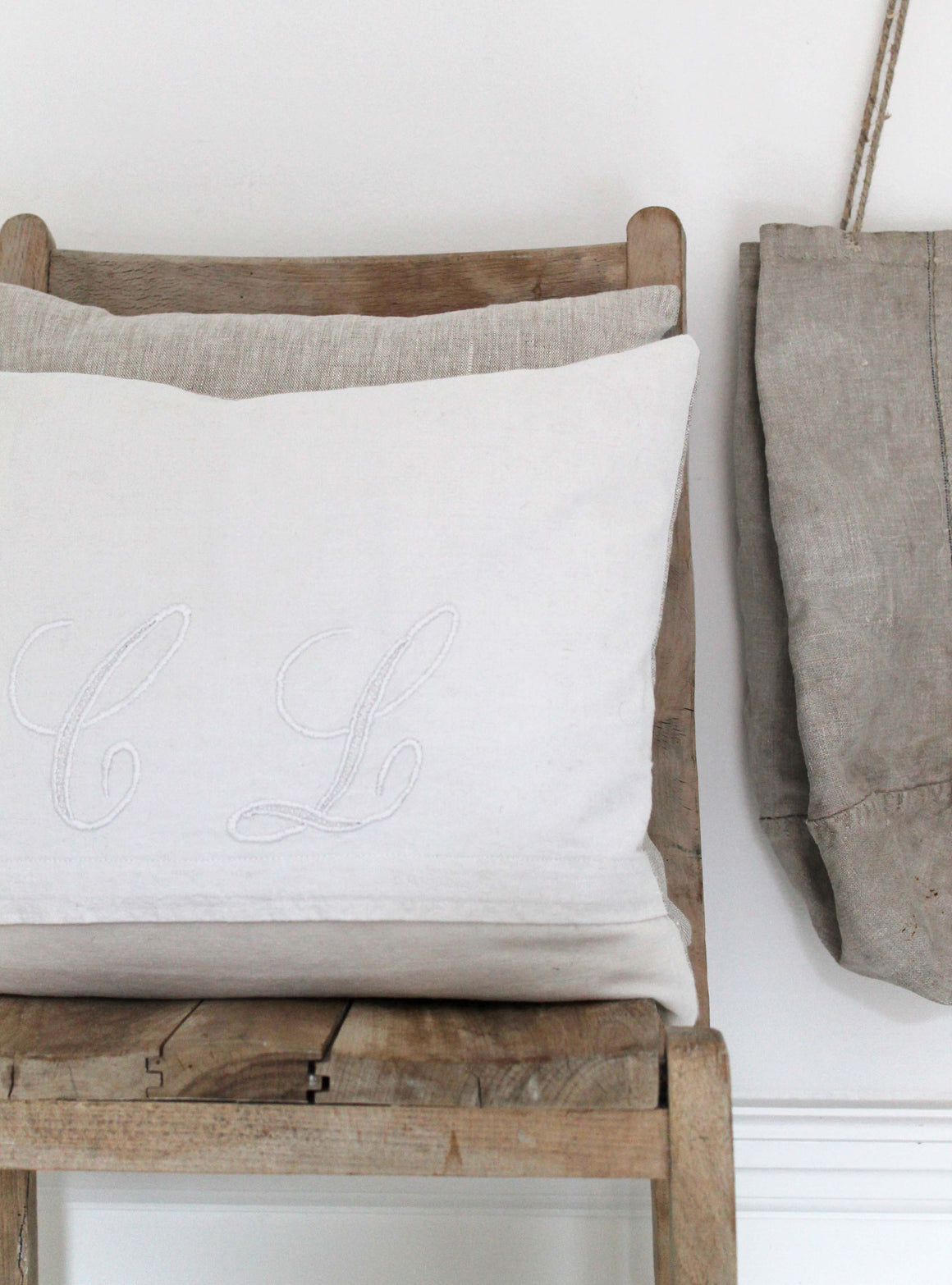 Embroidered CL Vintage Linen Cushion