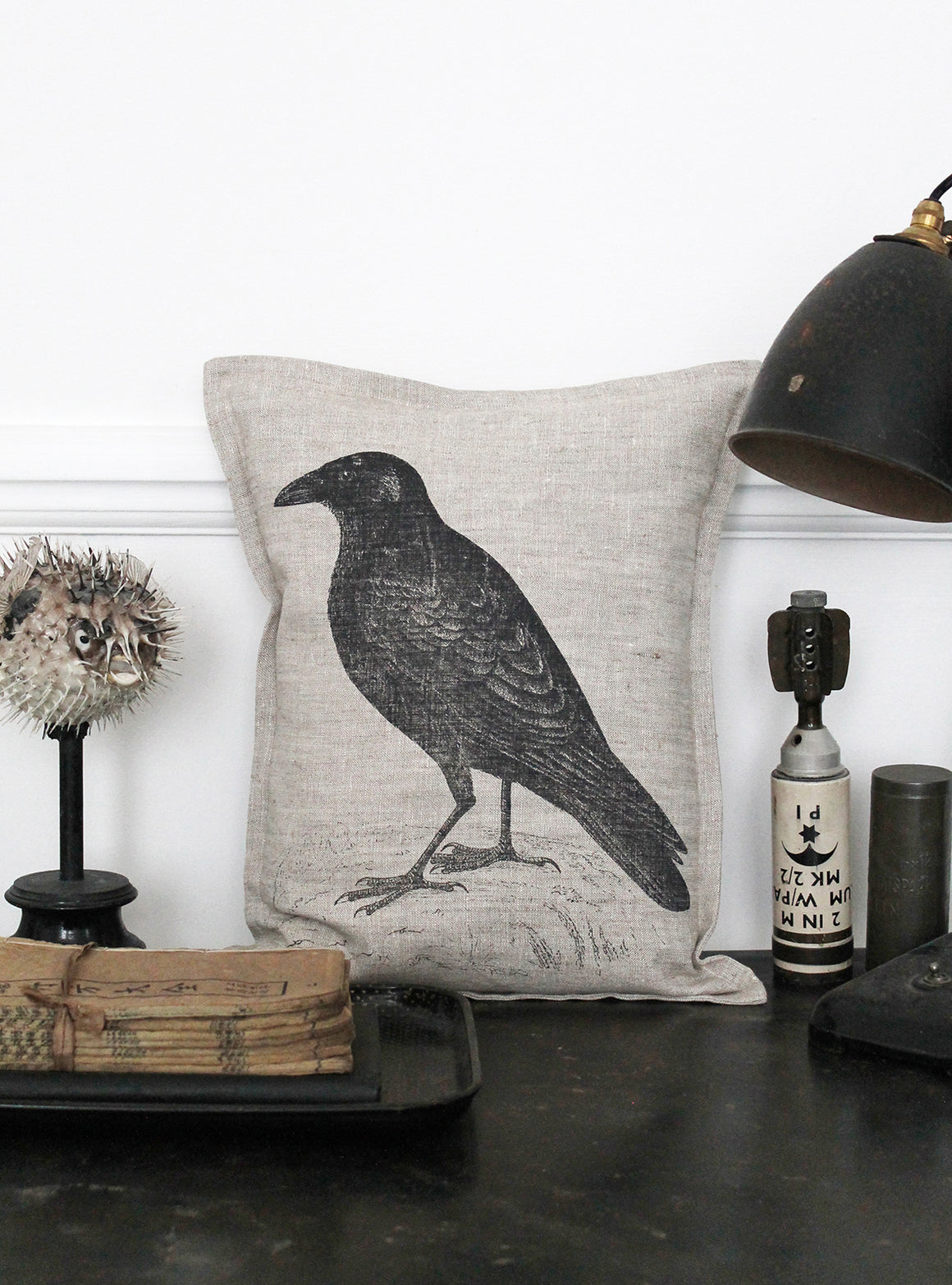 Corvus Corax Natural Linen Cushion