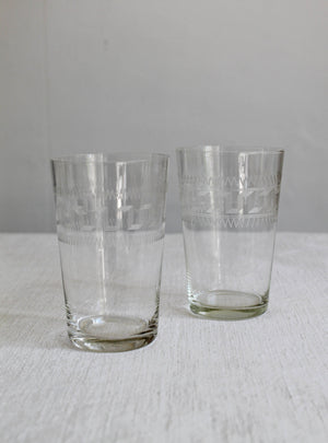 Etched Victorian Antique Water Glass Pair
