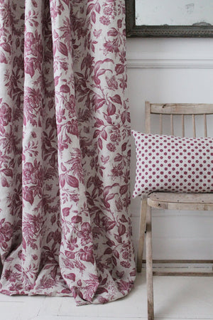 Floraison French Raspberry Natural Linen Fabric Curtain