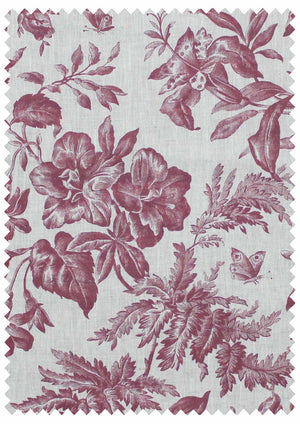 Floraison French Raspberry Natural Linen Swatch