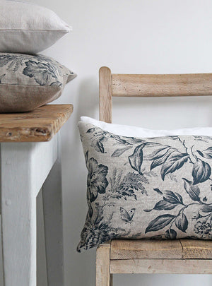 Floraison Prussian Blue Scatter Cushion Stack
