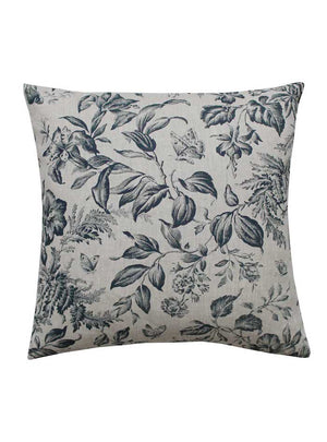 Floraison Prussian Blue Square Cushion White Background