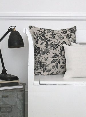 Floraison Soot Square Linen Cushion