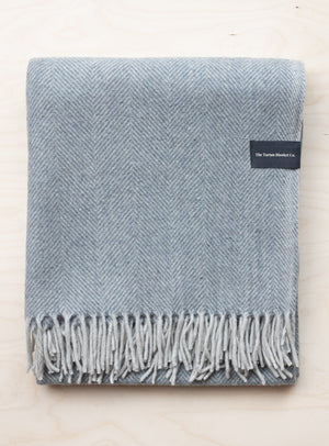 Charcoal Herringbone Recycled Wool Blanket