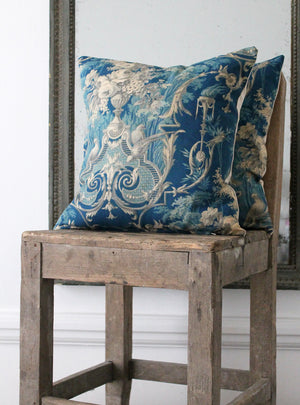 Blue & Grey Toile Square Cushion