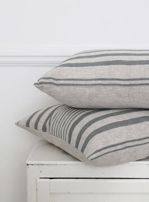 Manoir Grey Stripe Square Cushion