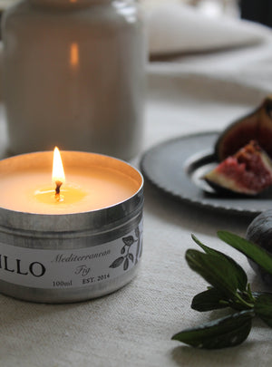 Mediterranean Fig Travel Tin Candle Open