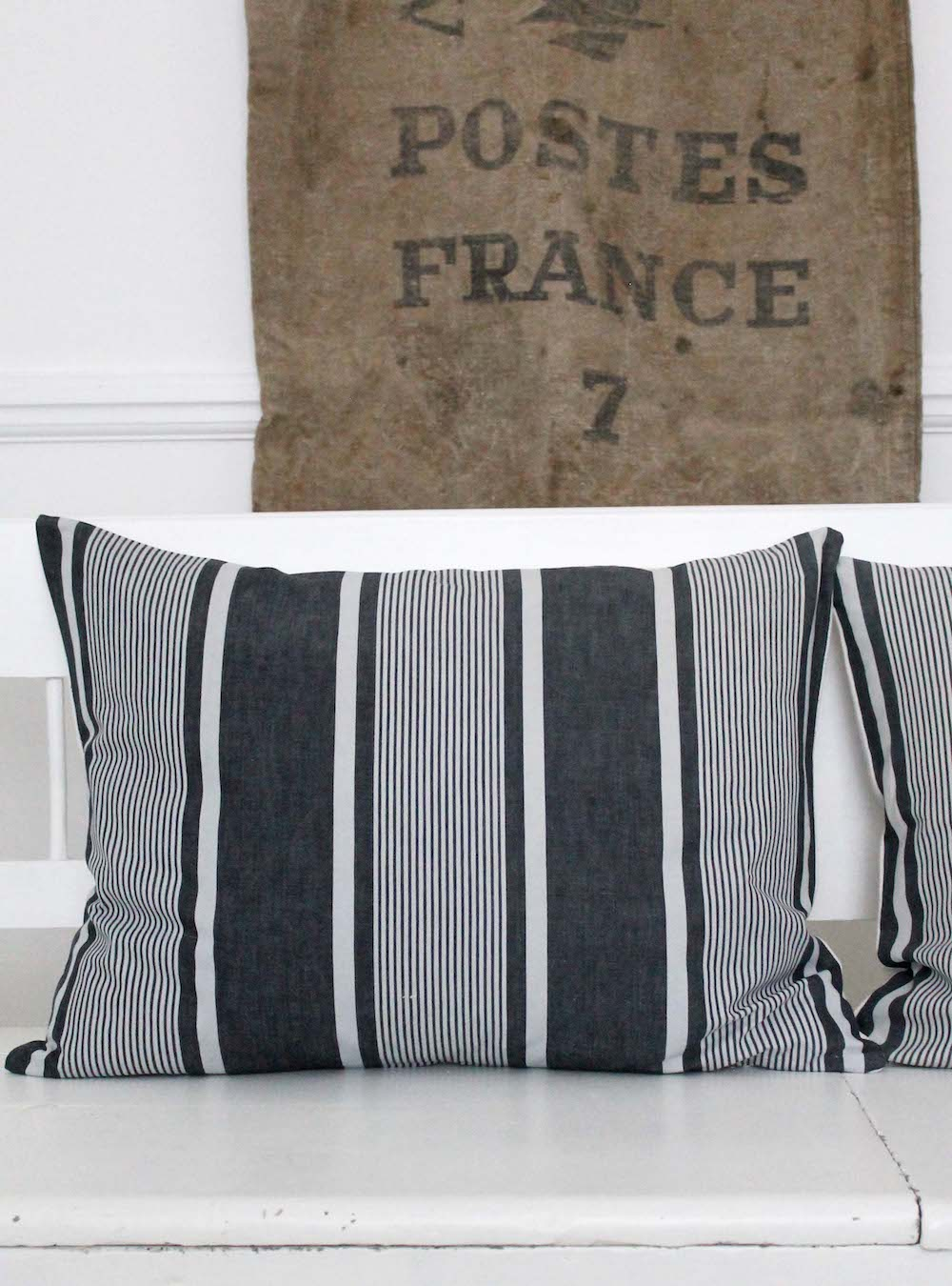 Mono Stripe Vintage Linen Giant Cushion