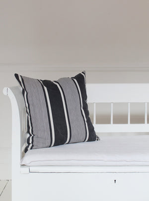 Black and White Stripe Square Cushion