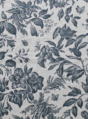 Floraison Prussian Blue - Natural Linen