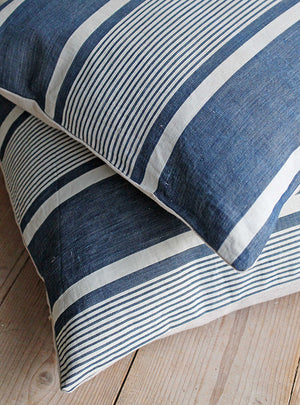 Pillo Ticking Stripe Vintage Blue Linen Square Cushion Close Up