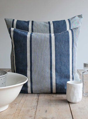 Pillo Ticking Stripe Vintage Blue Linen Square Cushion Front Shot