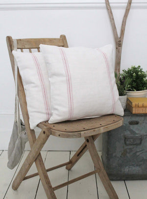 Vintage Pink Stripe Linen Cushions