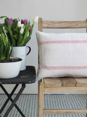 Red Vintage Stripe Scatter Cushion