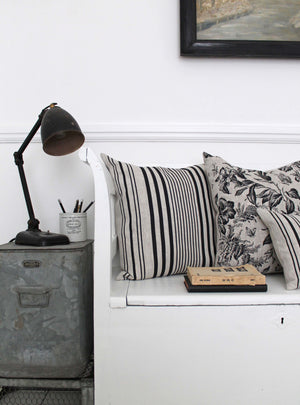 Stanley Stripe Soot Natural Linen Cushions