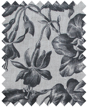 Floraison Soot - Natural Linen Swatch
