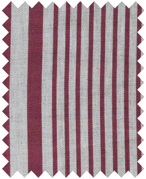 Stanley Stripe French Raspberry - Natural Linen Swatch