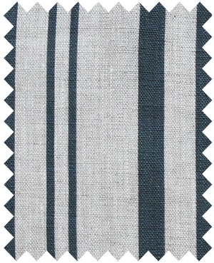 Stanley Stripe Stripe Prussian Blue - Natural Linen Swatch