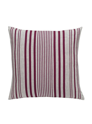 Stanley Stripe Square French Raspberry Cushion Front Cut Out