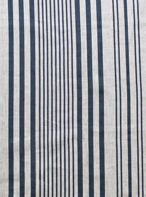 Stanley Stripe Prussian Blue - Natural Linen