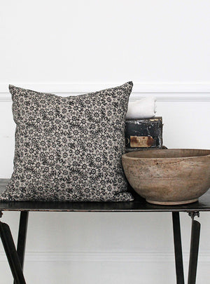 SummerLea Soot Square Natural Linen Cushion Side