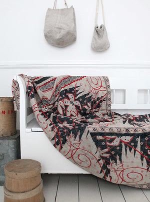 Vintage Kantha Throw Bench