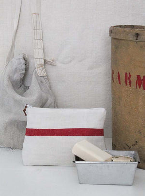 Vintage Red Bold Stripe Small Washbag Image 1