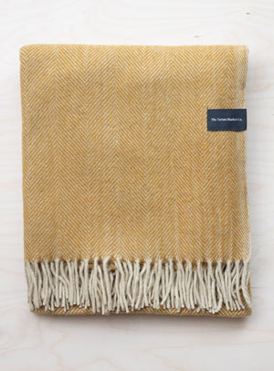 Mustard Herringbone Recycled Wool Blanket
