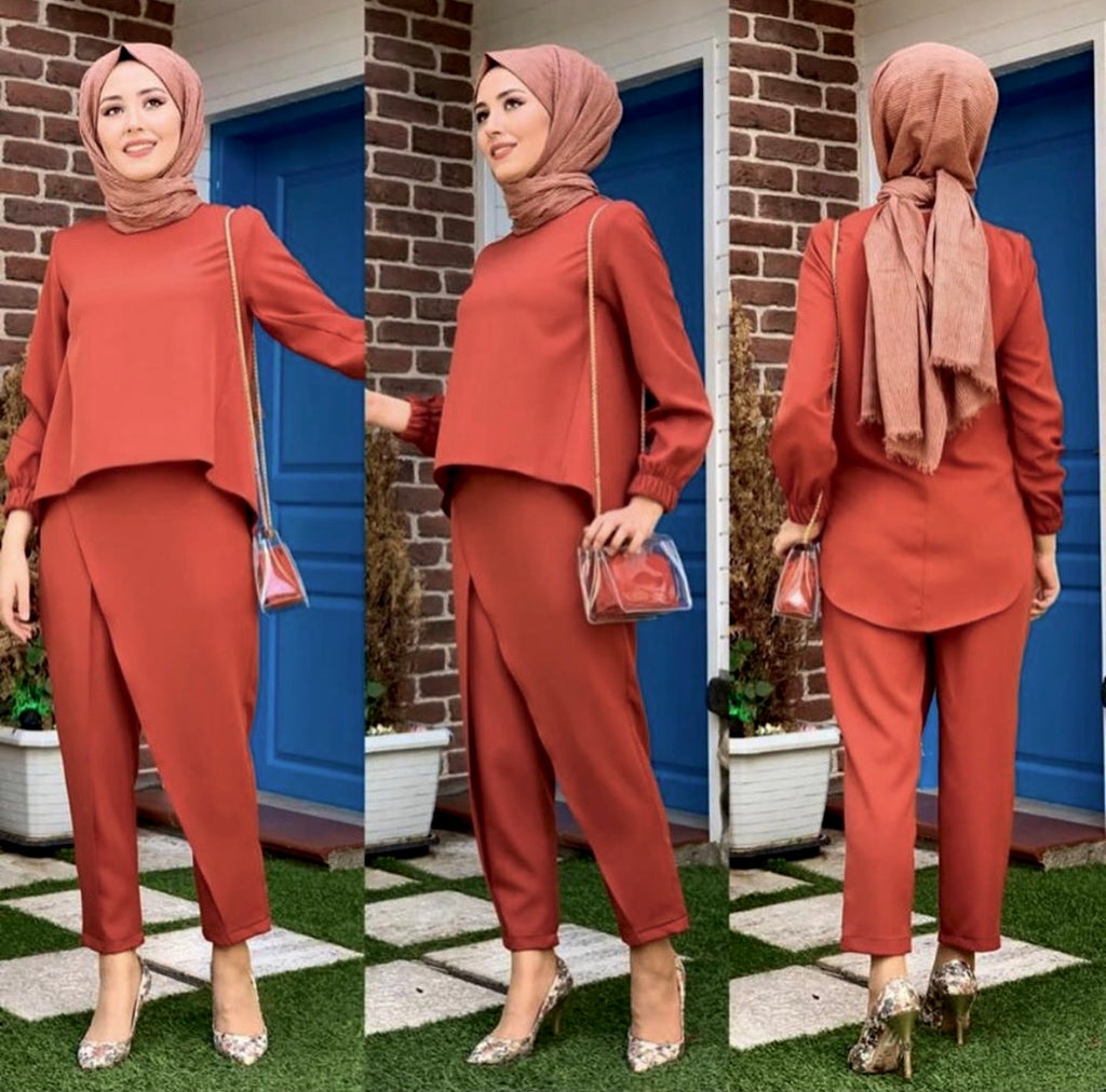 HIGHLOW TOP / PANTS SET RUST