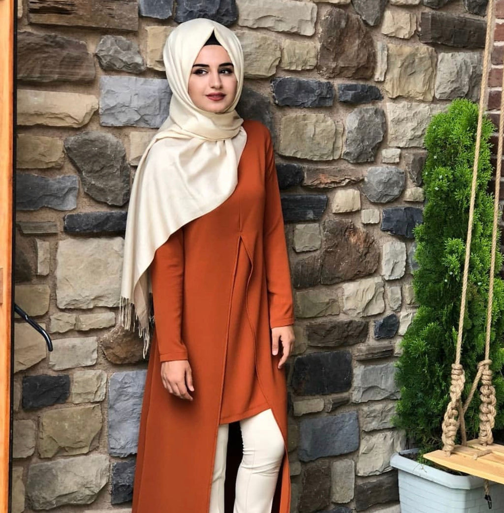 OPEN FRONT TUNIC RUST