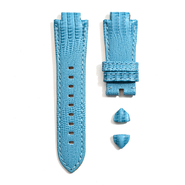 Leather Strap in Blue Teju